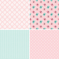 cute seamless background patterns in peach pink and mint