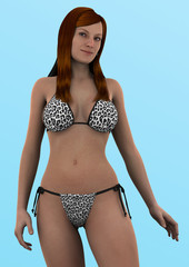 Sexy woman standing 3d