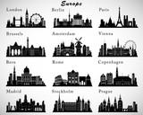 European Cities skylines set. Vector silhouettes - 80680155