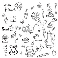 Teapot, cups, cakes, lemon and words.