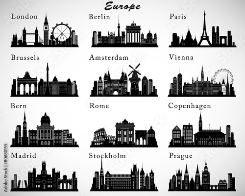European Cities skylines set. Vector silhouettes - 80680155