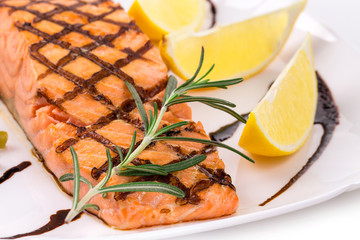 Grilled salmon in close up.
