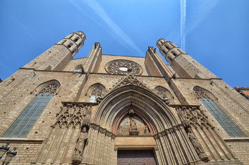 Facade of cathedral in Barcelona