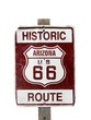 Old rusty historic Route 66 sign