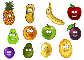 Colorful fruits and vegetables cartoon characters