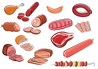 Cartoon different kind of meat products