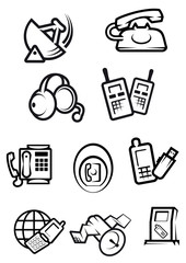 Communication technology for home and office icons