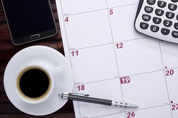 Coffee on the office calendar