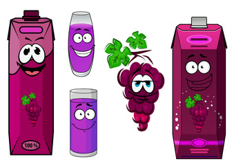 Smiling violet grape juice and fruit cartoon characters