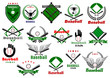 Baseball emblems or logo with game equipments - 80682797