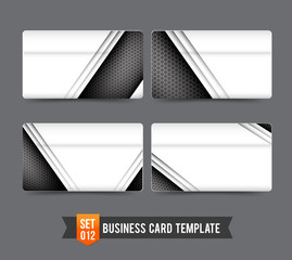 Business Card template set  012 Premium technology metal steel c