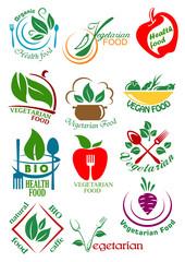 Vegetarian health food abstract design elements