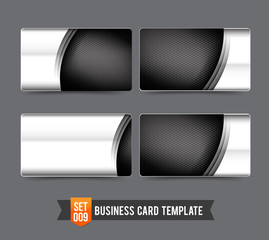 Business Card template set  009 Premium technology metal steel c