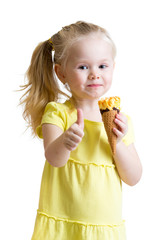 child eating ice cream and showing okay sign