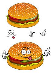 Hamburger cartoon character isolated on white