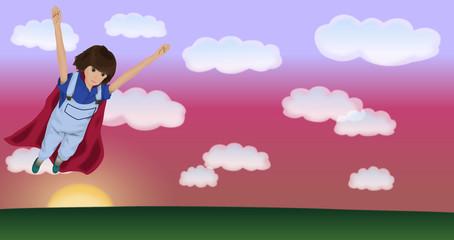 夕焼け空を飛ぶ女性