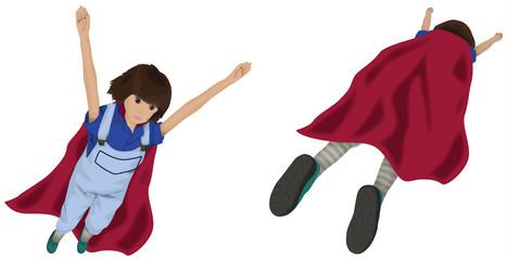 空を飛ぶ女性と飛び去る女性