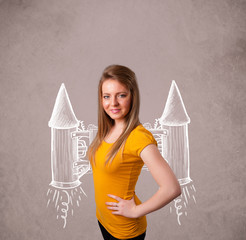 Cute girl with jet pack rocket drawing illustration