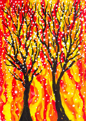Trees on a yellow-red background