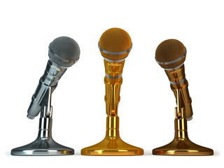 gold. silver and bronze microphones