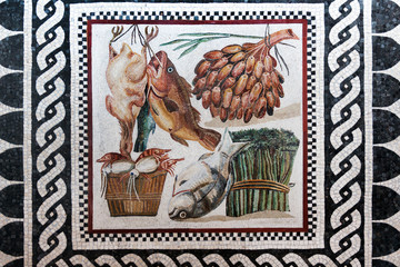 Ancient Roman mosaic of still life in Vatican Museum