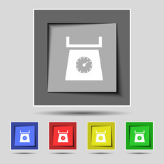 kitchen scales icon sign on the original five colored buttons. V