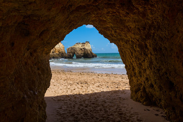 Hole of a big cave, Algarve Portugal