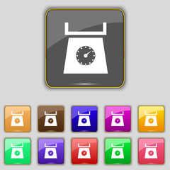 kitchen scales icon sign. Set with eleven colored buttons for yo
