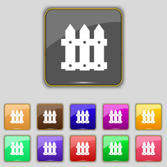 Fence icon sign. Set with eleven colored buttons for your site.