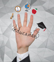 hand with education icons