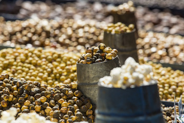 Selection of nuts on the local market in Kathmandu.