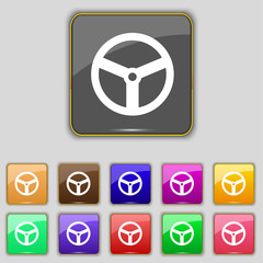 Steering wheel icon sign. Set with eleven colored buttons for yo