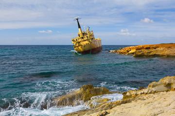 shipwreck near a sea coast