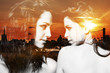 Double exposure of girls looking at each other and cityscape