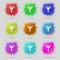 Funnel icon sign. A set of nine original needle buttons. Vector