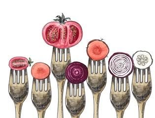 Vegetables and forks
