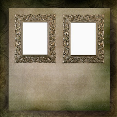 Two frames in Victorian style on green vintage background