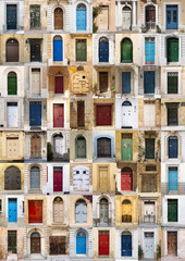 Collage of 64 colourful front doors from Malta.