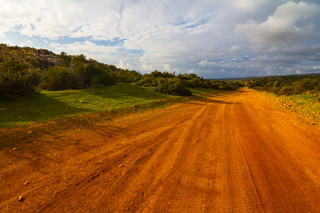 red clay rural road