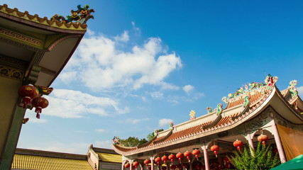 Chinese temple roof in Thailand