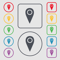 Map pointer icon sign. symbol on the Round and square buttons wi