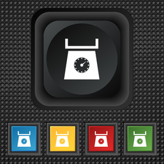 kitchen scales icon sign. symbol Squared colourful buttons on bl