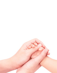 baby hand in mother hand softly and isolated on white background