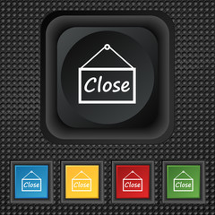 close icon sign. symbol Squared colourful buttons on black textu