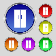 Cupboard icon sign. Round symbol on bright colourful buttons. Ve