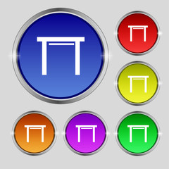 stool seat icon sign. Round symbol on bright colourful buttons.