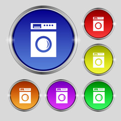 washing machine icon sign. Round symbol on bright colourful butt