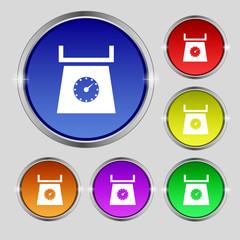 kitchen scales icon sign. Round symbol on bright colourful butto