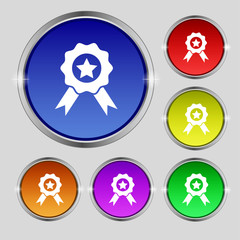 Award, Medal of Honor icon sign. Round symbol on bright colourfu