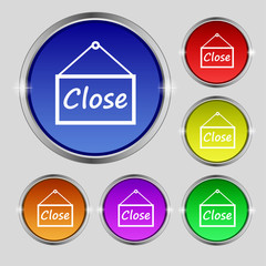close icon sign. Round symbol on bright colourful buttons. Vecto